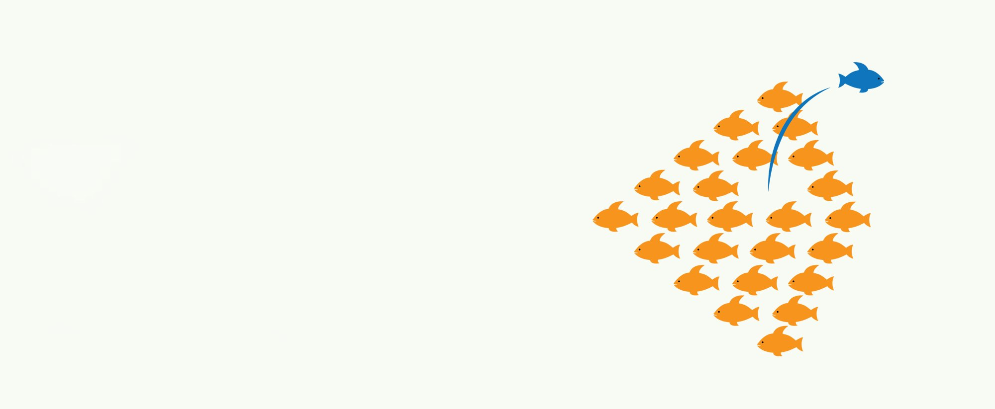 slide - a school of orange fish with one blue fish swimming out of the pack in the opposite direction