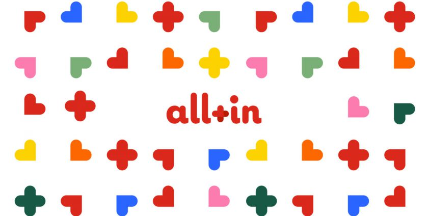All-in image surrounded with colorful hearts