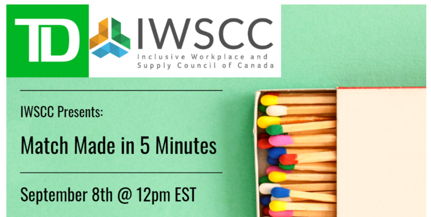 TD & IWSCC logos. IWSCC Presents: Match Made in 5 Minutes, September 8th @ 12pm EST. Box of colorful matches.